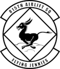 """Shield of the 815th Airlift Squadron """"The Flying Jennies"""""""