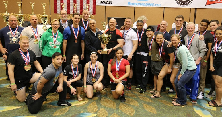 The United States Air Force team finished in first place, March 19, 2016 at 24th USA Powerlifting Military National Championships in Orlando, Fla. The USA Powerlifting Military National Championship event was open to all active duty, guard, reserve, retired military personnel DOD employees and dependents. The events held were bench press only, deadlift only, push-pull and powerlifting. (Courtesy photo)