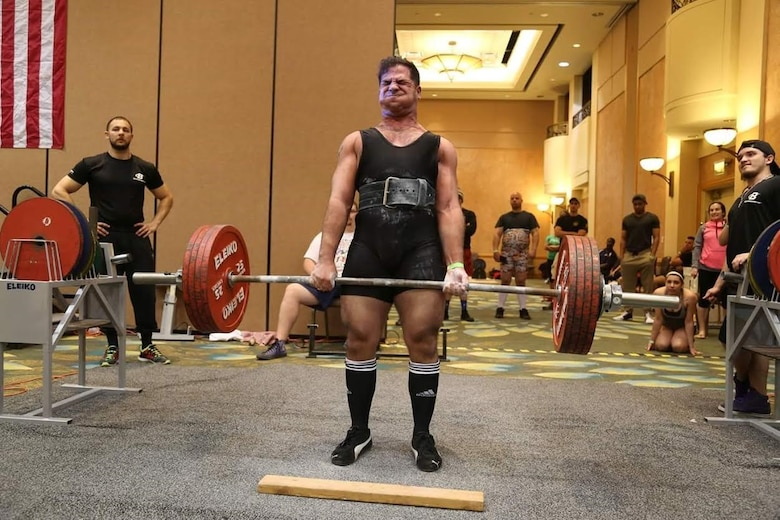 Isaiah, a staff sergeant from the 29th Intelligence Squadron, performs a deadlift March 19, 2016 at the 24th USA Powerlifting Military National Championships in Orlando, Fla. Isaiah contributed to the Air Force team's first place finish at the 2016 USA Powerlifting Military National Championship. Isaiah posted a 452 pound squat, a 308 pound bench and 535 pound deadlift. (Courtesy photo)
