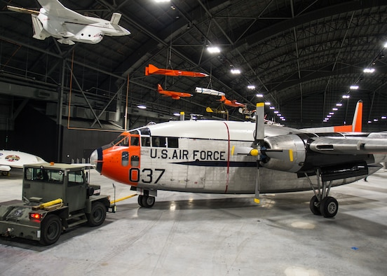 DAYTON, Ohio -- Fairchild C-119J Flying Boxcar being moved into the Space Gallery at the National Museum of the United States Air Force on April 5, 2016. (U.S. Air Force photo by Ken LaRock)