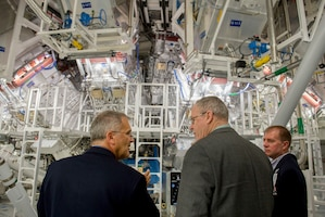On his last trip to the West Coast, Deputy Secretary of Defense Bob Work was briefed on the function and capability of the National Ignition Facility as he toured the Lawrence Livermore National Laboratory in Livermore, Calif., during a visit Aug. 5, 2015. Photo by Master Sgt. Adrian Cadiz