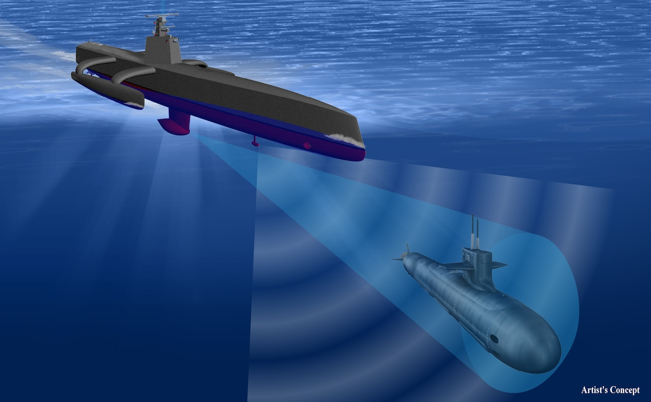 Artist's concept of a new class of ocean-going vessel designed, developed and built through DARPA's anti-submarine warfare continuous trail unmanned vessel, or ACTUV, program. The 132-foot ship is able to travel thousands of miles over open seas for months at a time with no crew members aboard. According to DARPA, ACTUV embodies breakthroughs in autonomous navigation and operation with the potential to revolutionize U.S. maritime operations. DARPA image