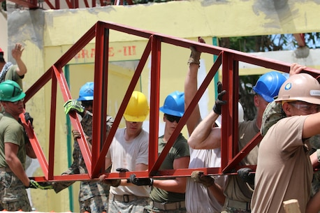 U.S. Service members lift a truss to restore a damaged classroom at Matangharon Elementary School, Barangay Matangharon, as part of the 32nd iteration of Exercise Balikatan, April 3, 2016. Matangharon Elementary School, damaged during last year's typhoon, is one of multiple humanitarian and civic assistance projects that demonstrate our commitment to training, cooperation and interoperability between the Philippines and the U.S. The annual bilateral exercise allows service members from both countries to train and enhance human assistance and disaster relief capabilities in the event of natural disasters or crisis endangerments.