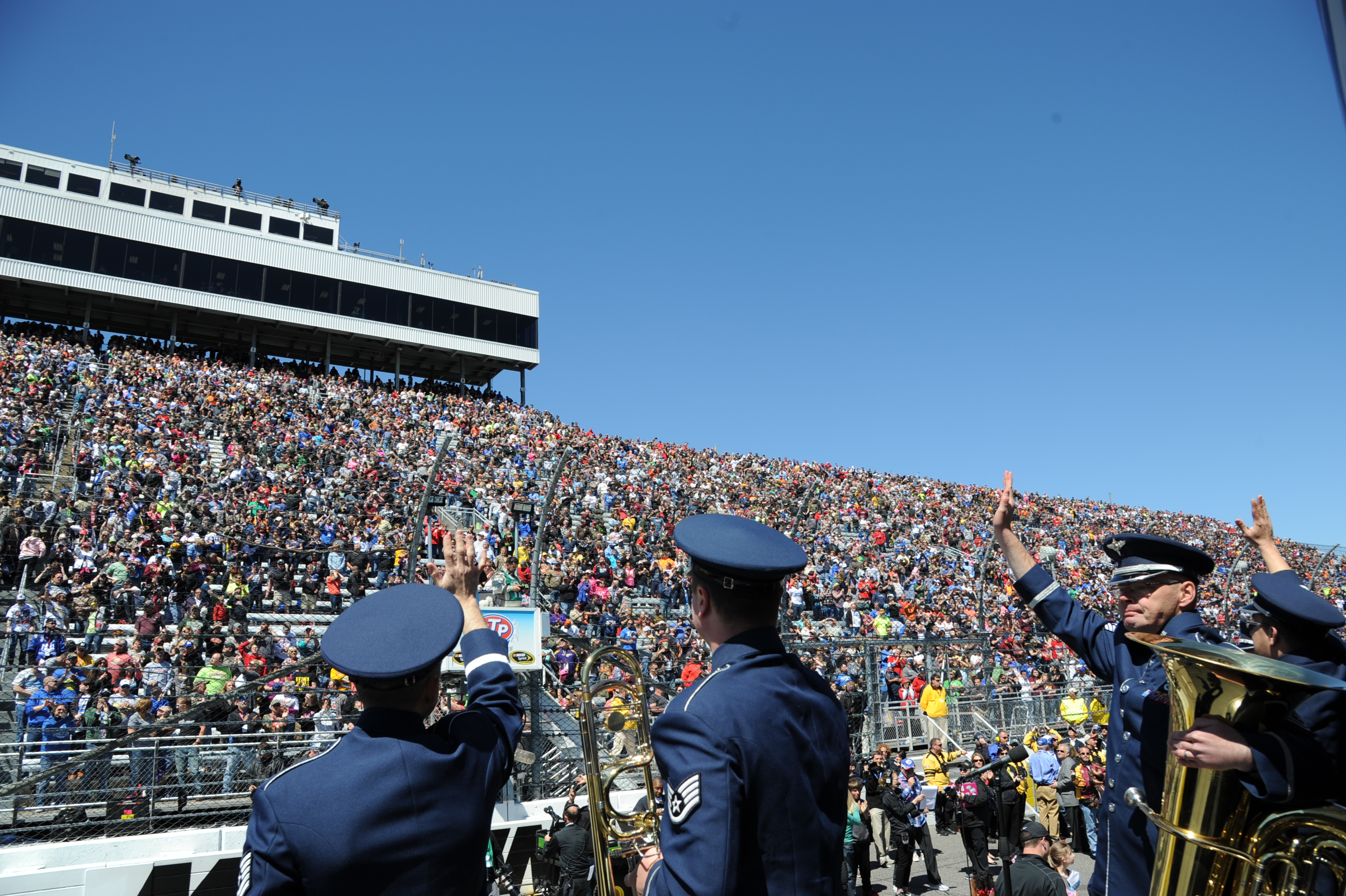 members of the u s heritage of america band perform at nascar air
