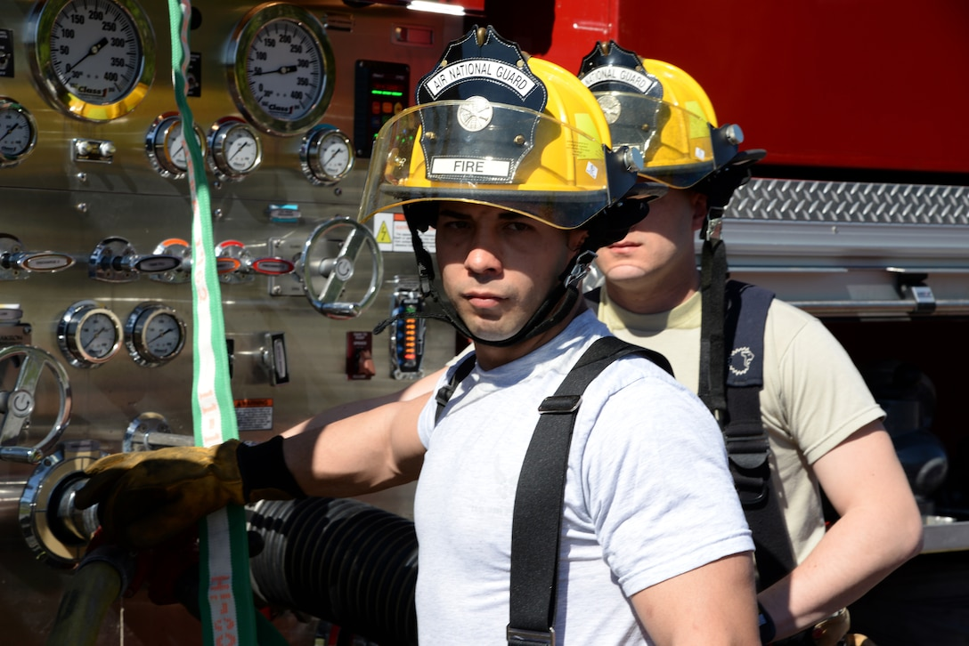 Staff Sgt. Junstin Hong of the 143rd Airlift Wing, Rhode Island Air National Guard, receives familizariation training on the operation of a P-22 Pumper at the 165th Airlift Wing's Regional Fire Training Facility in Savannah, Ga., on April 4th, 2016. (U.S. Air National Guard photo by Tech. Sgt. Andrew J. Merlock/Released)