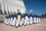 Heather Wilson, who graduated in 1982 from the U.S. Air Force Academy in Colorado Springs, Colo., has been nominated by President Donald J. Trump to become the next Secretary of the Air Force. If confirmed by the U.S. Senate, Wilson will be the first Air Force academy graduate to become Secretary of the Air Force. Air Force cadets are pictured marching in formation at the academy during the Founder's Day Parade in Colorado Springs, Colo., April 2, 2016. The parade is an annual event to celebrate the academy's founding and heritage. Air Force photo by Liz Copan
