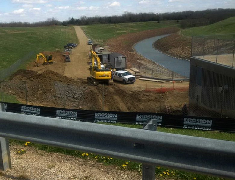 Major excavation and concrete work at the Clinton Dam north outlet area underway for improvements to the City of Lawrence Clinton Water Treatment Plant Raw Water Pump Station. The work began Feb. 15, 2016 and will continue through August 2016.