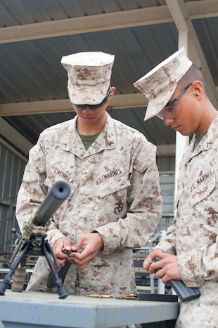 Private 1st Class Christian Cochola and Pfc. Rojas Esgar, combat camera specialist in Marine Corps Combat Development Command (MCCDC), load blacktip 5.56 ammunition. Marines had the opportunity to fire an M27, M249 SAW, and M9 and M45 service pistols.