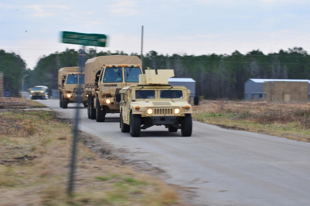 U.S. Army paratroopers from B Co., 112th Signal Bn., 528th Special Operations Sustainment Brigade arrive in a convoy for airborne operations during a validation exercise near Camp Lejeune, N.C., March 1, 2016. A validation exercise, (VALEX) is a multi-day, lanes training event to validate a units preparedness to conduct real world operations. (U.S. Army Photo by Sgt. Neil A. Stanfield)(Released)