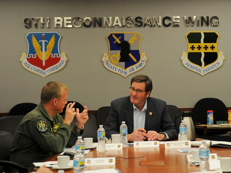 Congressman John Garamendi and Col. Christopher Stricklin, 9th Reconnaissance Wing vice commander (left), discuss infrastructure projects at the 9th RW Headquarters building on Beale Air Force Base, California, Apr. 06, 2016. Garamendi represents the Third District of California. (U.S. Air Force photo by Senior Airman Michael J. Hunsaker)