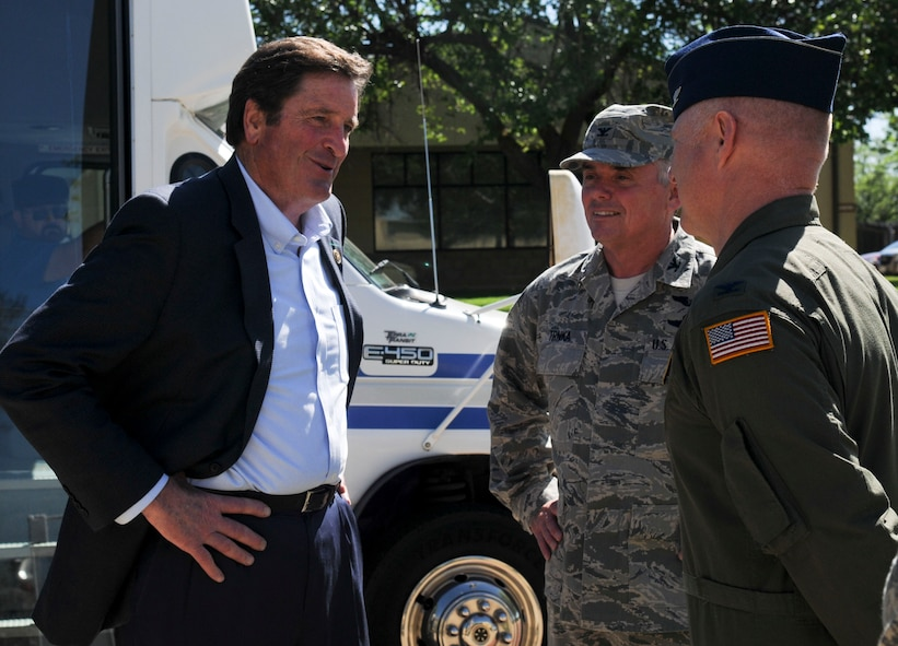 Col. John Trika, 940th Wing commander (center), and Col. Miles Heaslip, 349th Air Mobility Wing Detachment  1 director of operations (right), greet Congressman John Garamendi at the 9th Reconnaissance Wing Headquarters building on Beale Air Force Base, California, Apr. 06, 2016. Garamendi met with Beale leadership to discuss base infrastructure projects. (U.S. Air Force photo by Senior Airman Michael J. Hunsaker)