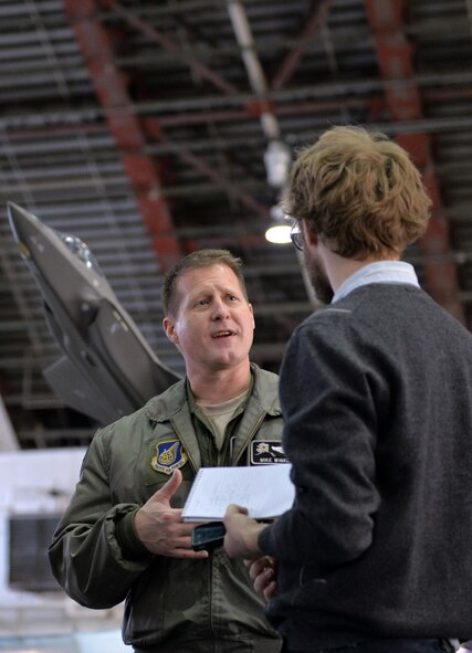 Air Force Col. Michael P. Winkler, the 354th Fighter Wing commander, participates in an interview following a March 4, 2016, ceremony at Eielson Air Force Base, Alaska, where he announced the news the Secretary of the Air Force made the decision to select Eielson as the location of the Air Force's first F-35A operational base in the Pacific Air Forces' Area of Responsibility. Air Force officials chose Eielson after a lengthy analysis of the location's operational considerations, installation attributes, environmental factors and cost. (U.S. Air Force photo by Master Sgt. Karen J. Tomasik/Released)