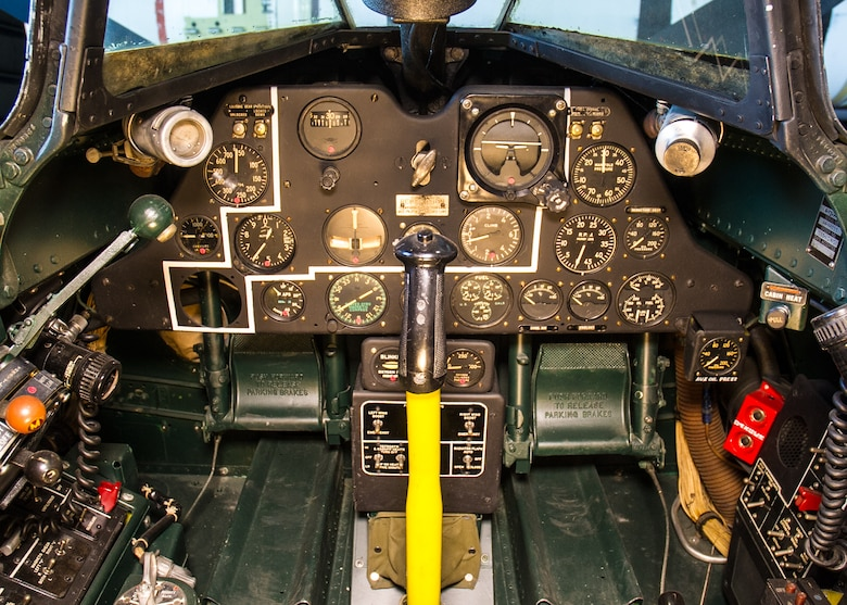 DAYTON, Ohio -- Fisher P-75A Eagle cockpit view in the Research & Development Gallery at the National Museum of the United States Air Force. (U.S. Air Force photo by Ken LaRock)