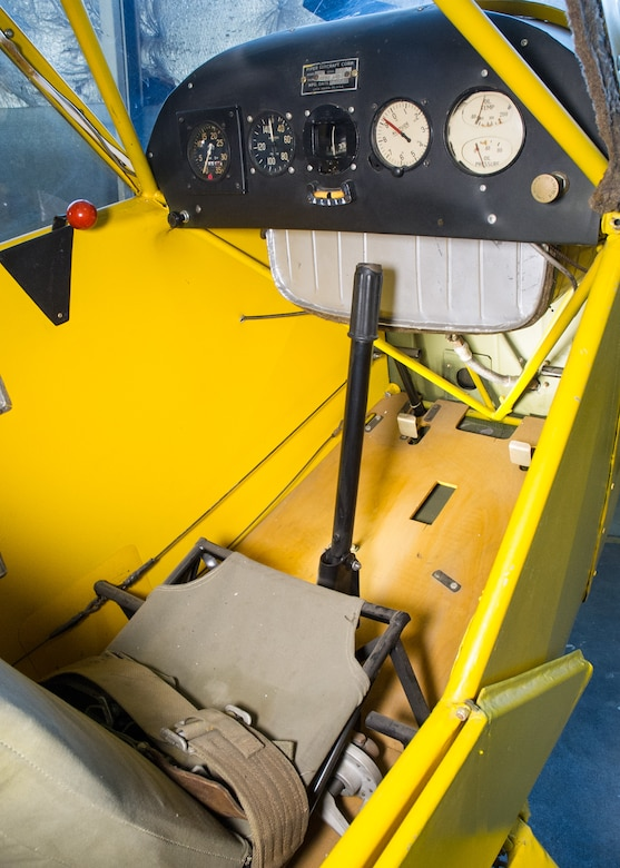 DAYTON, Ohio -- Piper J-3C-65-8 cockpit view at the National Museum of the United States Air Force. (U.S. Air Force photo by Ken LaRock)