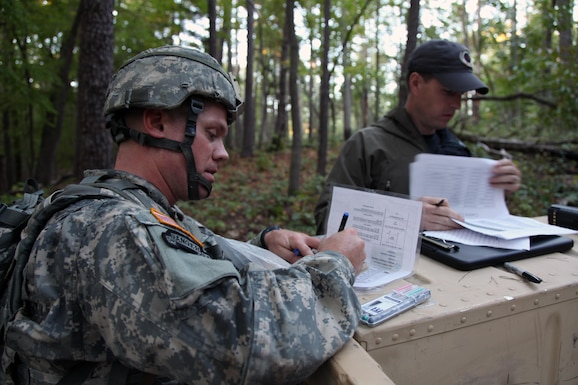 U. S. Army Staff Sgt. Andrew Fink, assigned to 409th Area Support Medical Company, U.S. Army Reserve Command, prepares to shoot an azimuth during the land navigation portion of the U.S. Army's Best Warrior Competition in Fort A.P. Hill, Va., Oct. 5, 2015. The competition is a grueling, weeklong event that tests the skills, knowledge, and professionalism of 26 warriors representing 13 commands.  (U.S. Army photo by Pfc. Michael Parnell/Released) #BestWarrior