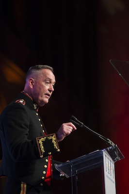 Marine Gen. Joe Dunford, chairman of the Joint Chiefs of Staff, makes remarks during the Tragedy Assistance Program for Survivors 2016 Honor Guard Gala in Washington, D.C., Apr. 6, 2016. DoD photo by Army Staff Sgt. Sean K. Harp