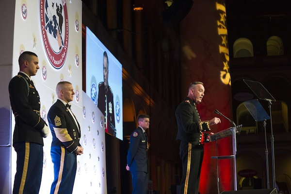 Marine Corps Gen. Joe Dunford, chairman of the Joint Chiefs of Staff, makes remarks during the Tragedy Assistance Program for Survivors 2016 Honor Guard Gala in Washington, D.C., Apr. 6, 2016. During the event, Gen. Dunford was presented the TAPS Honor Guard Gala Military Award, accepting it on behalf of the men and women serving in our Armed Forces. DoD photo by Army Staff Sgt. Sean K. Harp