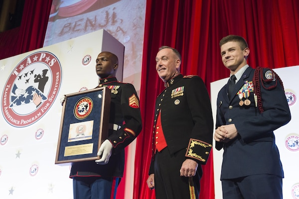 Marine Corps Gen. Joe Dunford, chairman of the Joint Chiefs of Staff, stands on stage during the Tragedy Assistance Program for Survivors 2016 Honor Guard Gala in Washington, D.C., April 6, 2016. DoD photo by Army Staff Sgt. Sean K. Harp