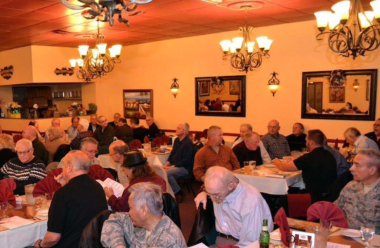 Approximately 70 former and current 111th Attack Wing members gathered to reconnect during a dinner held in their honor in Philadelphia, April 4, 2016. Commander of the 111th Attack Wing Col. Howard Eissler and Anna Richar, the Horsham AGS Airman & Family Readiness Center programs manager, addressed the crowd as keynote speakers during the event. (U.S. Air Force photo by Tech. Sgt. Andria Allmond)