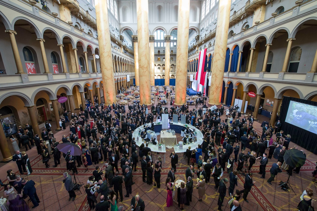 Guests meet at the at the  Tragedy Assistance Program for Survivors 2016 Honor Guard Gala at the National Building Museum in Washington, D.C., April 6, 2016. TAPS provides ongoing peer-based emotional support to those grieving the death of someone who died while serving in the armed forces. DoD photo by Navy Petty Officer 2nd Class Jesse A. Hyatt
