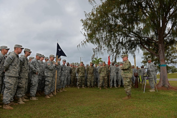 U.S. Army Lt. Col. Jeffrey Slown, Task Force Talon commander, addresses Task Force Talon soldiers about the importance of the sexual harassment/assult response and prevention program during a tree dedication ceremony April 8, 2016, at Andersen Air Force Base, Guam. The tree will serve as a daily reminder to keep up the fight to drive sexual assault and harassment out of the military. (U.S. Air Force photo/Airman 1st Class Jacob Skovo)