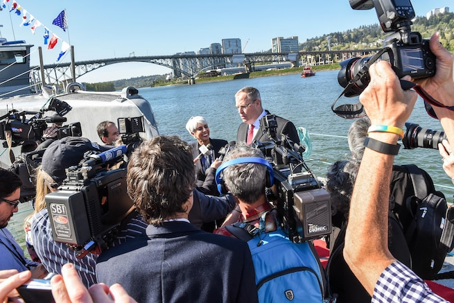 Deputy Defense Secretary Bob Work speaks with reporters following the Defense Advanced Research Projects Agency's christening ceremony for a technology demonstration vessel in Portland, Ore., April 7, 2016. DoD photo by Army Sgt. 1st Class Clydell Kinchen