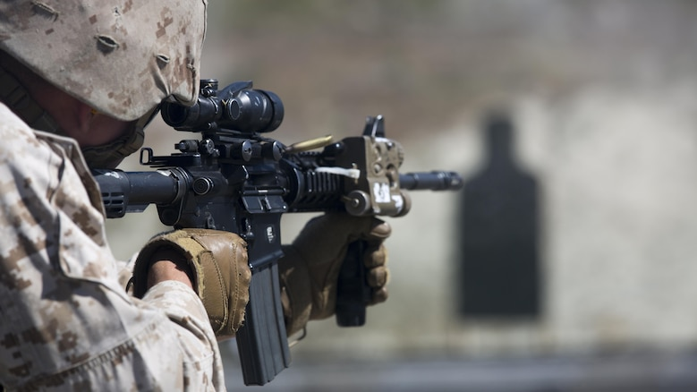 Cpl. Michael Gray, anti-tank missileman with 1st Light Armored Reconnaissance Battalion and student in the Urban Leaders Course fires his M4 Carbine during a combat marksmanship program range at Marine Corps Base Camp Pendleton, California, March 16, 2016. As a portion of the ULC, this range teaches Marines individual marksmanship and movement skills they need in order to move on to more advanced fire-team and squad-based tactics.