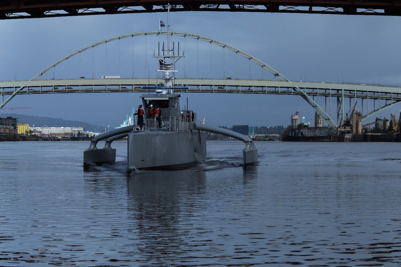 Sea Hunter, a prototype of a new class of unmanned oceangoing vessel, conducts on-water tests in Portland, Ore., recently. The Defense Advanced Research Projects Agency held a christening ceremony for the ship April 7, 2016, in Portland. DoD photo