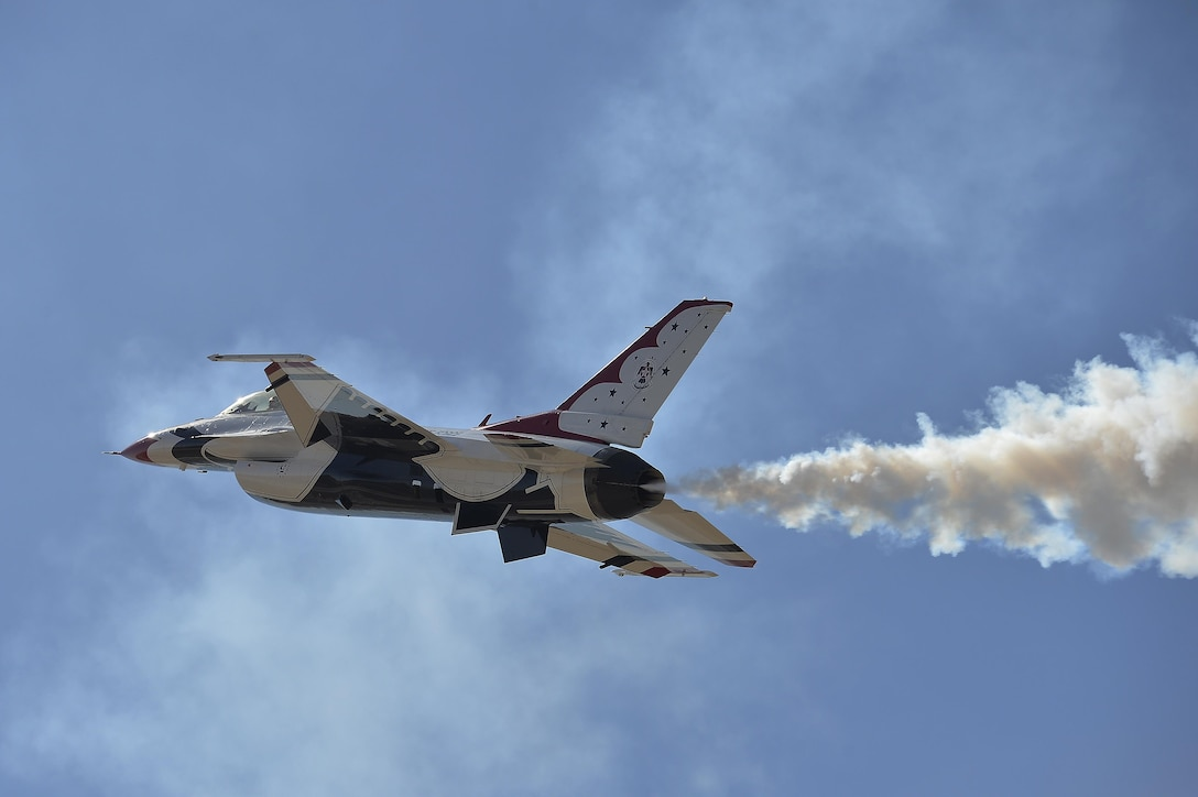 Capt. Nicholas Eberling, a Thunderbirds pilot, performs the high alpha maneuver during a practice show at Luke Air Force Base, Ariz., April 1, 2016. (U.S. Air Force photo/Tech. Sgt. Christopher Boitz)