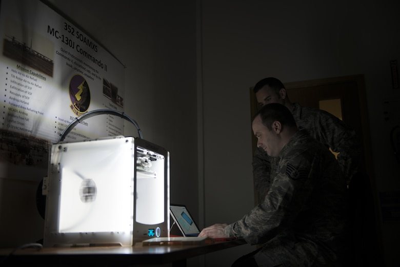Staff Sgt. Matthew Farmer, 352d Special Operations Aircraft Maintenance Squadron Aerospace Propulsion Craftsman, uses a 3D printer to create protective covers he designed to guard against damage to brittle MC-130J Commando II components and submitted through the Airmen Powered by Innovation program. The API program, incepted in April 2014, has received more than 5,300 ideas and has identified potential cost savings of more than $37 million. (U.S. Air Force photo by 1st Lt Chris Sullivan/Released)