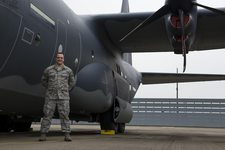Staff Sgt. Matthew Farmer, 352d Special Operations Aircraft Maintenance Squadron Aerospace Propulsion Craftsman, poses beside an MC-130J Commando II on RAF Mildenhall, April 8, 2016. Sgt. Farmer designed two separate sets of protective covers for MC-130J components that he could create using a 3D printer at home. Both designs were accepted via the Airmen Powered by Innovation program and will be adopted Air Force wide. (U.S. Air Force photo by 1st Lt Chris Sullivan/Released)