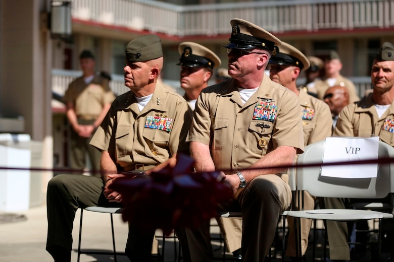 MARINE CORPS BASE CAMP PENDLETON, Calif. – Lt. Gen. David Berger (left), commanding general of I Marine Expeditionary Force, and Master Chief Petty Officer Michael Smith (right), the command master chief petty officer of I MEF, attend a dedication ceremony of Camp Pendleton's 'Anchor Up Club' as a 'Chiefs Mess' to the North County Chief Petty Officer Association on April 1, 2016, at Camp Pendleton. Marines with I Marine Expeditionary Force Headquarters Group dedicated the club in celebration of the 123rd birthday of chief petty officers throughout the Navy. The commanding general and sergeant major of I MEF were present to celebrate their longstanding traditions with the Navy and the bond they share. (U.S. Marine Corps photo by Cpl. Angel Serna/Released)