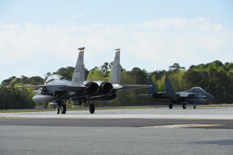 F-15E Strike Eagle aircraft taxi during Razor Talon, April 8, 2016, at Seymour Johnson Air Force Base, North Carolina. The monthly exercise allows service members unique opportunities to combine land, air and sea forces from all service branches in a realistic training environment. (U.S. Air Force photo/ Senior Airman Aaron J. Jenne)