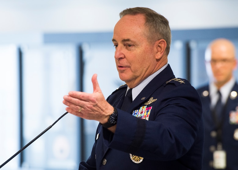 Air Force Chief of Staff Gen. Mark. A Welsh III gives his remarks before presenting the Lance P. Sijan Leadership Award to the 2014 and 2015 recipients during a ceremony at the Pentagon in Washington, D.C., April 7, 2016. The award was named in honor of the first Air Force Academy graduate to receive the Medal of Honor. Each year it is given to a senior and junior officer and a senior and junior enlisted member who demonstrated outstanding leadership abilities throughout the year. (U.S. Air Force photo/Jim Varhegyi)