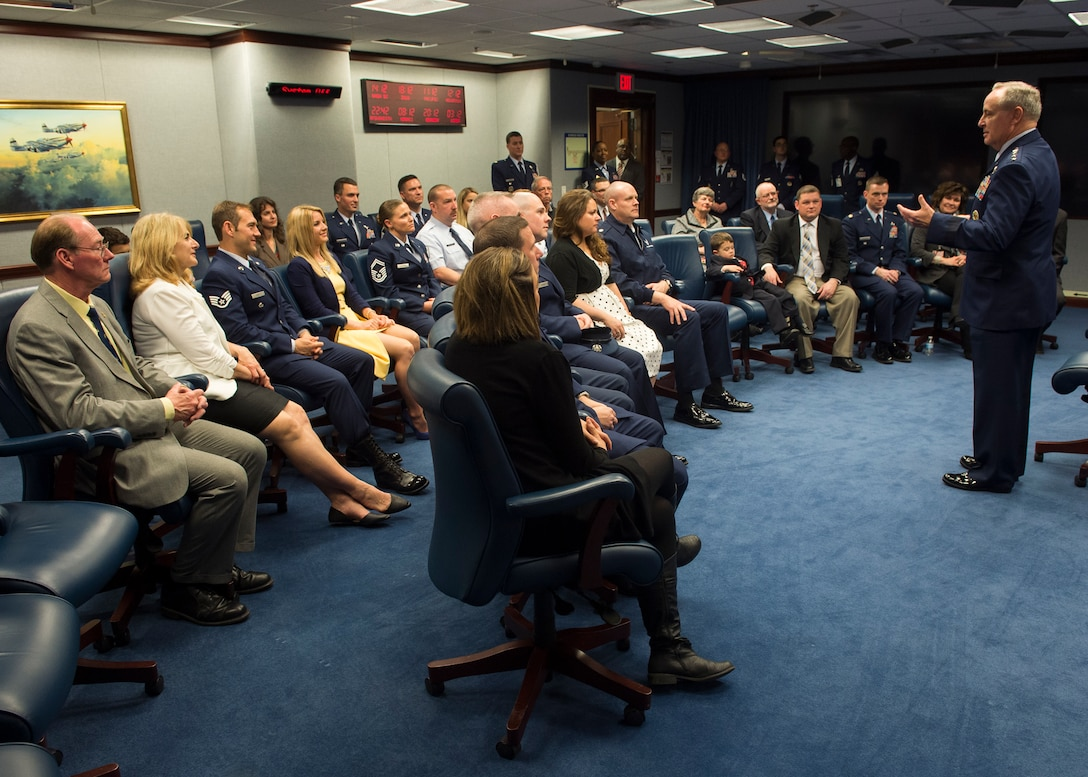 Air Force Chief of Staff Gen. Mark. A Welsh III talks with the 2014 and 2015 Lance P. Sijan Leadership award winners prior to their award ceremony at the Pentagon in Washington, D.C., April 7, 2016. Each year, the award is given to a senior and junior officer and a senior and junior enlisted member who demonstrated outstanding leadership abilities throughout the year. The 2014 winners are: Lt. Col. Stephen Matthews, Capt. John Sullivan, Master Sgt. Janell McGivern and Senior Airman Tristen Windel. The winners for 2015 are: Maj. Patrick Kolesiak, Capt. David Plachno, Senior Master Sgt. Justin Deisch and Tech. Sgt. Kevin Henderson. (U.S. Air Force photo/Jim Varhegyi)