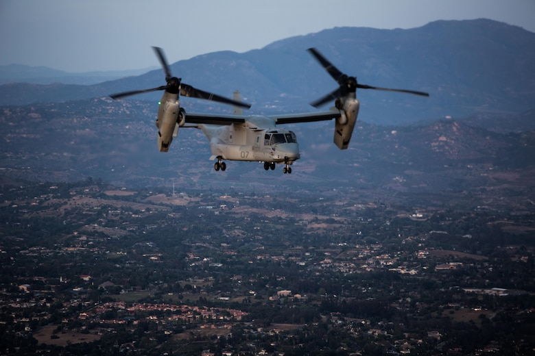 "An MV-22B Osprey with Marine Medium Tiltrotor Squadron (VMM) 364 ""Purple Foxes"" flies over Southern California, April 5. Marines with VMM-364 and VMM-165 ""White Knights"" conducted division confined area landings before returning to their air stations. (U.S. Marine Corps photo by Sgt. Lillian Stephens/Released)"