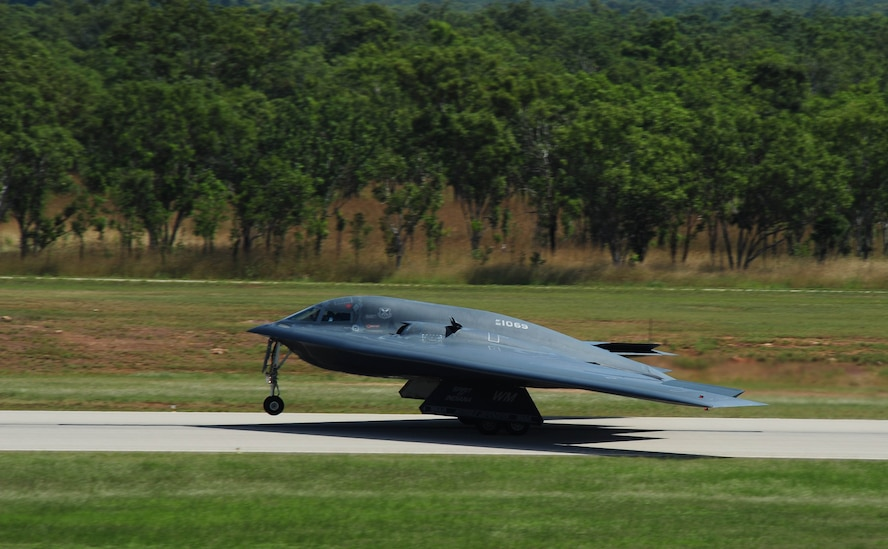 A U.S. Air Force B-2 Spirit bomber takes off from Royal Australian Air Force Base Tindal, Australia, March 22, 2016, following an engine running crew change. The B-2 was one of three that were deployed to the Indo-Asia-Pacific region from March 8 through 29 to enhance bomber crew readiness and proficiency and to integrate capabilities with key regional partners. U.S. Strategic Command bombers regularly rotate through the Indo-Asia-Pacific region to conduct theater security cooperation engagements with U.S. allies and partners and demonstrate a shared commitment to promoting security and stability in the region. (U.S. Air Force photo by Senior Airman Joel Pfiester/Released)