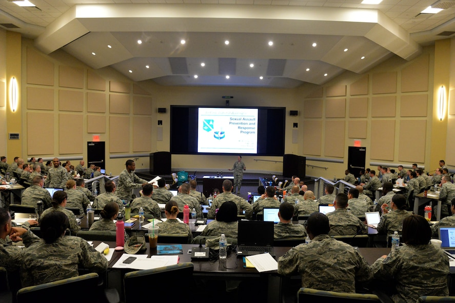 The Air Force District of Washington hosted a First Sergeant Symposium for NCO's and SNCO's from around the National Capital Region 4-8 April 2016 at the General Jacob E. Smart Center on Joint Base Andrews, Md. The four-day symposium provided perspective and knowledge of first sergeant responsibilities. (U.S. Air Force photo/Tech. Sgt. Matt Davis)