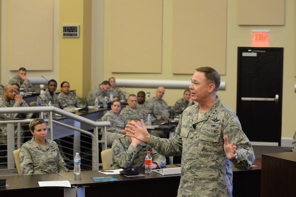 Air Force District of Washington Commander Maj. Gen. Darryl Burke speaks to potential first sergeants during the First Sergeant Symposium on Joint Base Andrews, Md., April 7, 2016. The four-day symposium provided perspective and knowledge of first sergeant responsibilities. (U.S. Air Force photo/Master Sgt. Tanika Belfield)