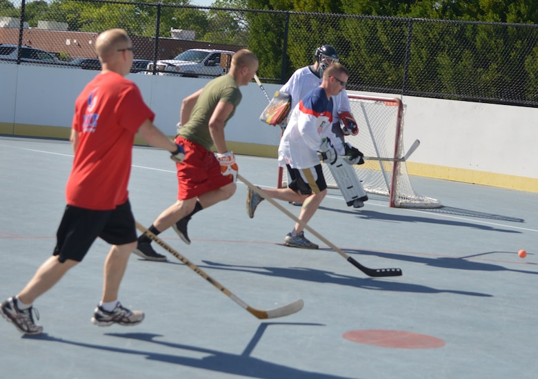 The Robins Fitness Center held its inaugural Ball Hockey tournament this week introducing the sport to novices and experienced players alike. To find out more, contact the fitness center at 478-926-2128 or DSN 468-2128. (U.S. Air Force photo by Ray Crayton)