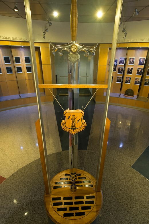 The Air National Guard's ceremonial sword is displayed at the Air National Guard Readiness Center, Joint Base Andrews, Md,, Mar. 10, 2014. The Order of the Sword is the highest honor and tribute that the Non-Commisioned Officer Corps of the United States Air Force can convey to an individual in recognition for extraordinary service to the military and the United States of America. (U.S. Air National Guard photo by Master Sgt. Marvin R. Preston/Released)