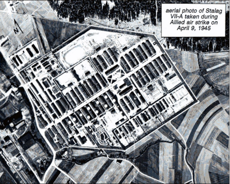 Aerial view of Stalag VII-A near Moosburg, Germany, site of the largest German POW camp in World War II. (Courtesy Moosburg Online at www.stalag.moosburg.org)