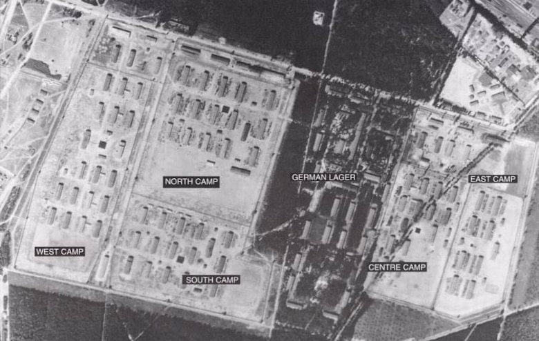 "Aerial view of Stalag Luft III, Sagan, Germany, during World War II. The camp was the site of ""The Great Escape"" in March, 1944, and was later evacuated as Russian forces approached, the POWs being force marched west in winter weather. (Courtesy Pegasusarchive.org)"