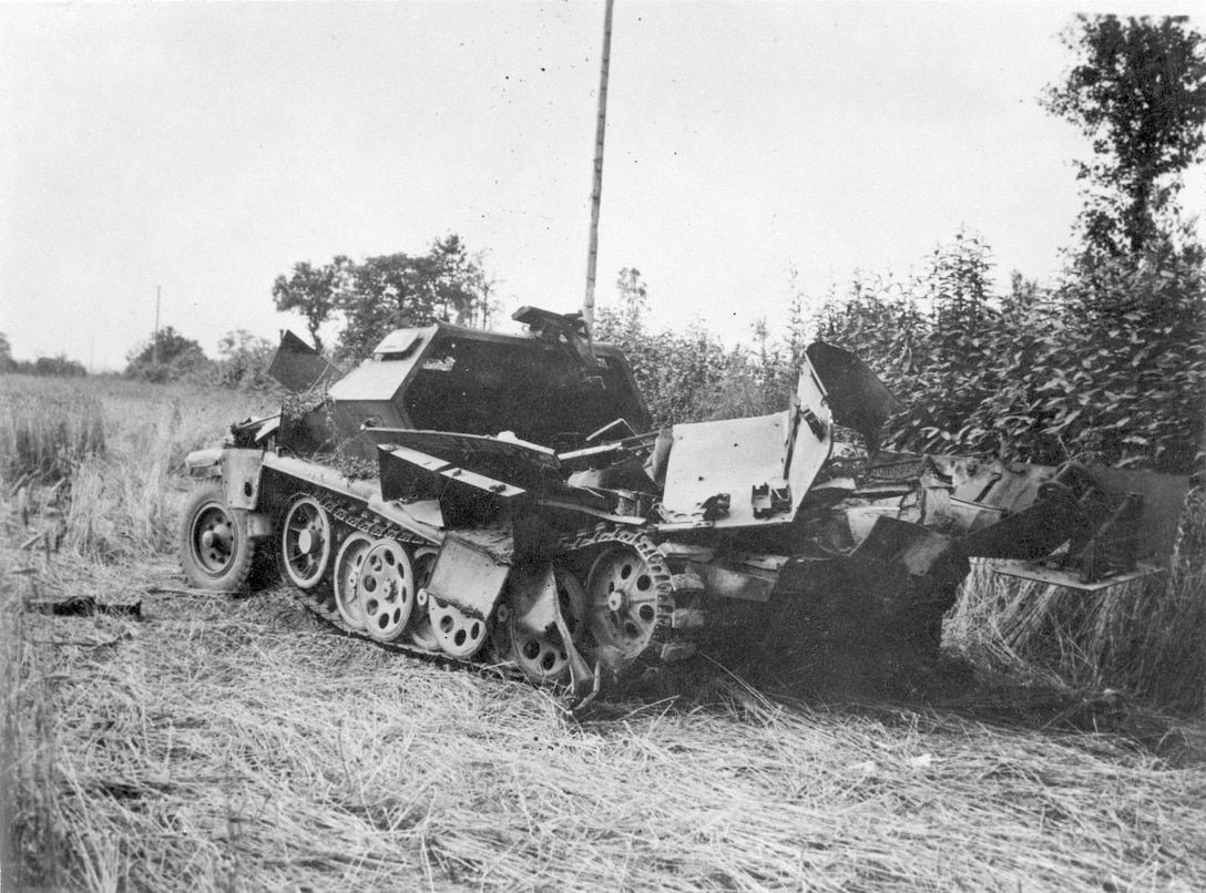 German Wehrmacht halftrack destroyed by 9th Air Force fighter-bombers on 29 July 1944 in France. (National Museum of the USAF)