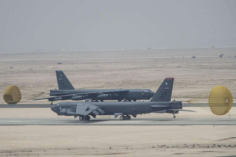 U.S. Air Force B-52 Stratofortress aircraft from Barksdale Air Force Base, La., arrived at Al Udeid Air Base, Qatar, April 9, 2016, in support of Operation Inherent Resolve, the operation to eliminate the Islamic State of Iraq and the Levant and the threat they pose to Iraq, Syria and the wider international community, and as needed in the region. The B-52 offers diverse capabilities including the delivery of precision weapons. (U.S. Air Force photo/Staff Sgt. Corey Hook)
