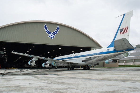 DAYTON, Ohio -- The VC-137C Air Force One (SAM 26000) being towed into the fourth building at the National Museum of the United States Air Force on April 9, 2016. (U.S. Air Force photo by Ken LaRock)
