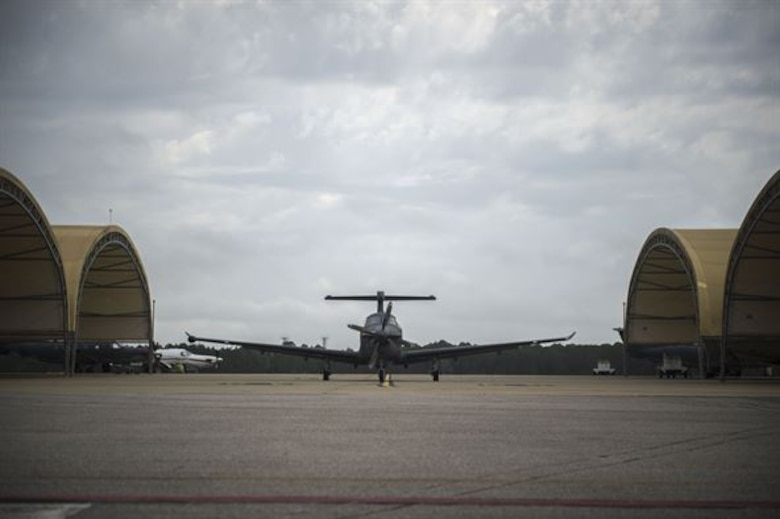 A U-28A aircraft taxies in after completing a mission March 31 at Hurlburt Field, Florida. As part of the mission, Staff Sgt. Kyle Cook, a tactical system operator with the 28th Intelligence Squadron, completed his aircraft mission qualification training. (U.S. Air Force photo/Airman 1st Class Kai White)