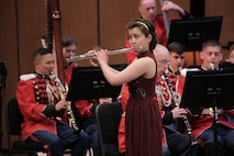 "On Sunday, April 10, 2016, the Marine Band performed a concert titled ""State of Mind."" Each of these selections highlighted some mental state, whether it is the pride felt serving as a Marine, the harried and frantic state of mind most everyone has experienced at some point, or the meditative, trance-like state that Michael Gandolfi's Flourishes and Meditations can achieve through each performance. The program culminated with Dana Wilson's Piece of Mind where each movement represents the workings of the human mind. Also, the concert featured a solo performance by flutist Mei Stone, the 2016 Marine Band Concerto Competition winner."