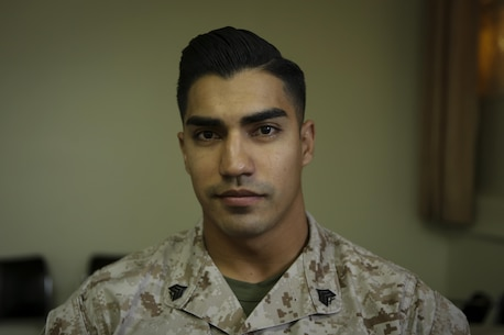 Sergeant Edwin Lopez, a rifleman with 1st Battalion, 1st Marine Regiment, 1st Marine Division, poses for a portrait aboard Marine Corps Base Camp Pendleton, Calif., April 7, 2016. Lopez said the Marine Corps provided the 25-year-old, San Marcos native to become a successful leader within the infantry community, deploying four separate times to places such as Okinawa and Afghanistan.