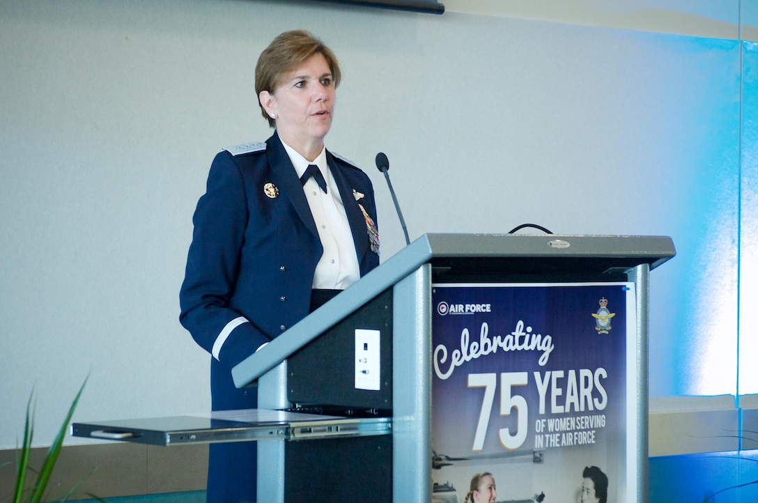 Gen. Lori Robinson, Pacific Air Forces commander, gives remarks to veterans and Royal New Zealand Air Force service members at the 75 Years of Women in Service celebration at RNZAF Base Ohakea, New Zealand, March 4, 2016. The visit to RNZAF Base Ohakea was part of Robinson's two-week visit to New Zealand and Australia, which served to improve relations with both nations and reaffirmed PACAF's commitment to the rebalance in the Pacific. (RNZAF courtesy photo)